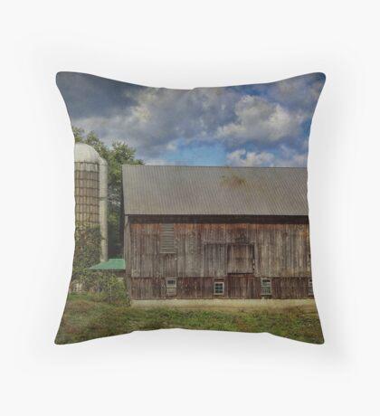 Barn with Silo Throw Pillow