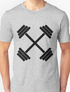 Gym Crossed Dumbbell Barbell Weight Athletics T-Shirt