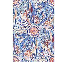 Boho Flower Burst in Red and Blue Photographic Print