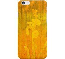 Grunge abstract botanical pattern yellow iris motif iPhone Case/Skin