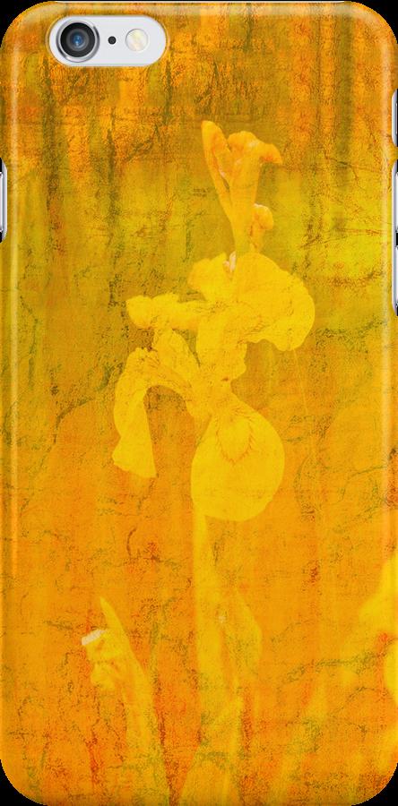 Grunge abstract botanical pattern yellow iris motif by Marianne Campolongo