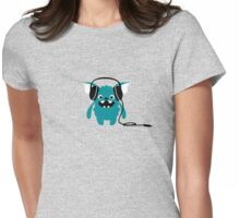 Monster with Headphones Womens Fitted T-Shirt