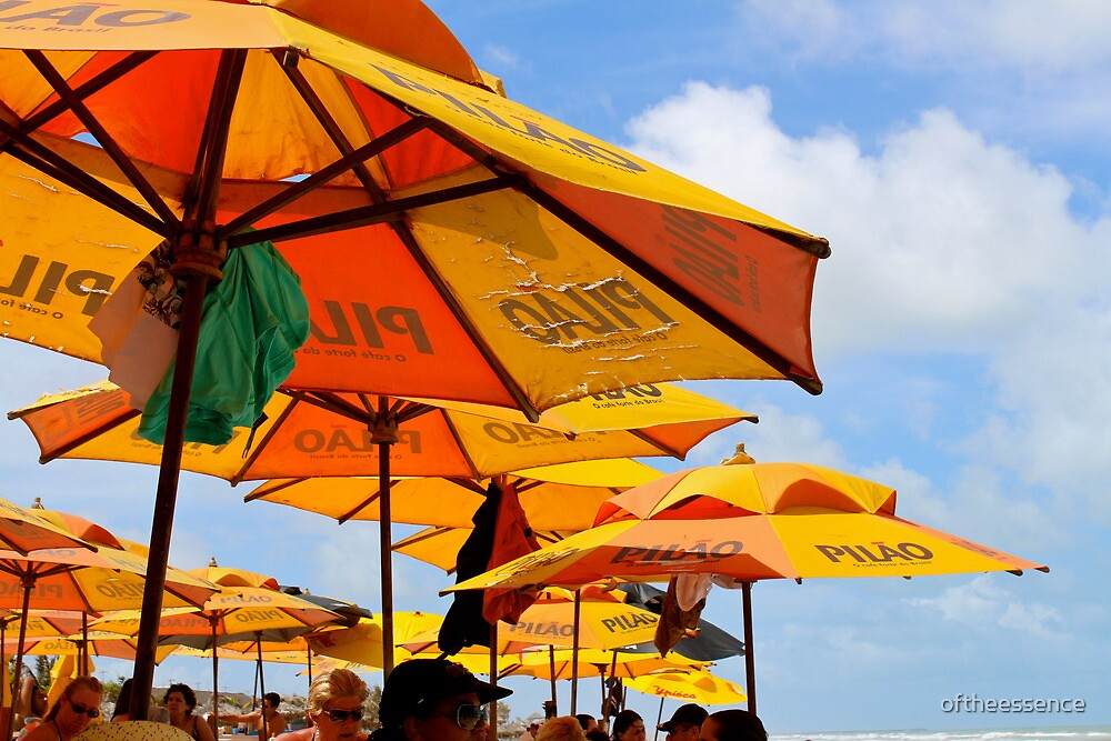 Orange Umbrellas in Brazil by oftheessence