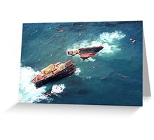 Container ship Rena sinking Greeting Card