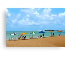 Six Umbrellas at the Beach Canvas Print