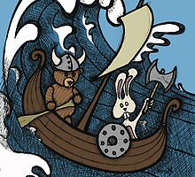 Teddy Bear And Bunny - Rape And Pillage  by Brett Gilbert