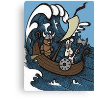 Teddy Bear And Bunny - Rape And Pillage  Canvas Print