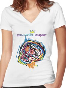 Jean Michel Basquiat Head Version 2 Women's Fitted V-Neck T-Shirt