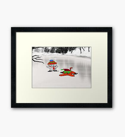 A Cat Teaches His Friend To Ice-Skate Framed Print
