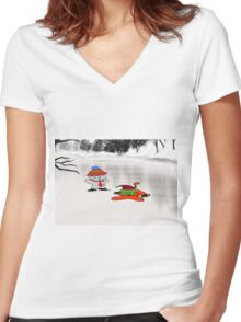 A Cat Teaches His Friend To Ice-Skate Women's Fitted V-Neck T-Shirt