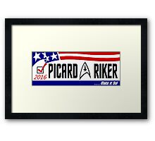 Picard - Riker a ticket you can believe in Framed Print