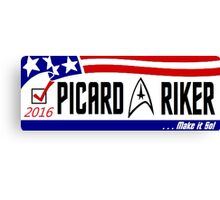 Picard - Riker a ticket you can believe in Canvas Print