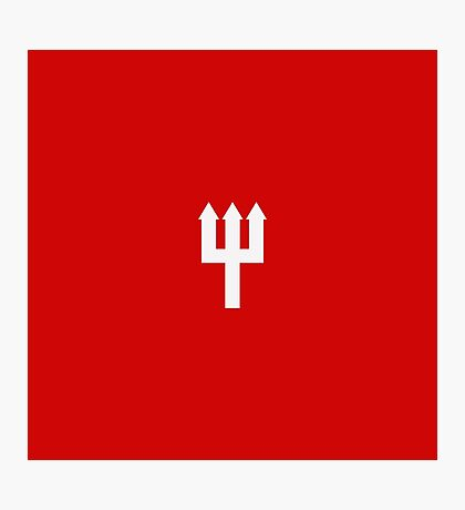 Minimalistic Manchester United Trident Design - Red & White Photographic Print