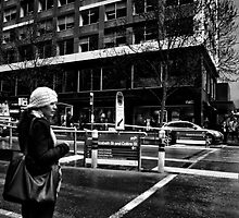 Candid Street Portrait on the corner of Collins and Elizebeth, Melbourne by PatrickLawrence