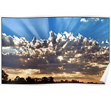 Sun Rays in the Sky Poster