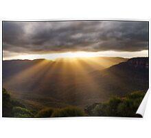 Sun Rays at Flat Rock Poster
