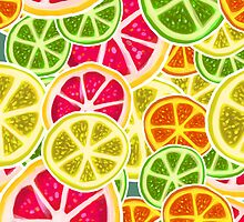 Citrus Fruit Slices Pattern by SaradaBoru