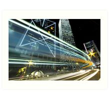 Busy traffic in Hong Kong at night Art Print