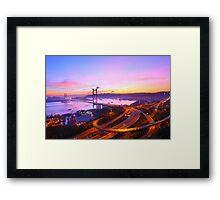 Tsing Ma Bridge at sunset moment in Hong Kong Framed Print