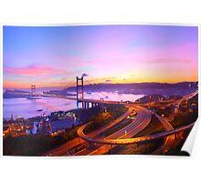 Tsing Ma Bridge at sunset moment in Hong Kong Poster