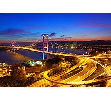 Tsing Ma Bridge at sunset moment in Hong Kong Photographic Print