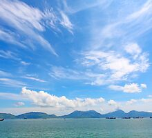 Seascape in Hong Kong at summer time, with moving clouds. by kawing921