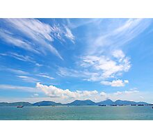 Seascape in Hong Kong at summer time, with moving clouds. Photographic Print