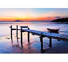 Sunset coast at wooden pier Photographic Print