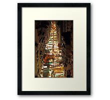 Temple Street in Hong Kong at night Framed Print