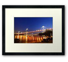 Ting Kau Bridge in Hong Kong at night Framed Print