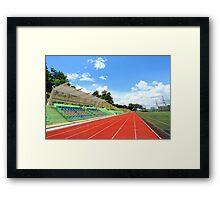 Stadium chairs and running tracks Framed Print