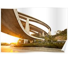 Highway and freeway at sunset in Hong Kong Poster