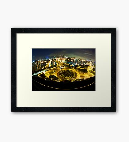 Hong Kong night traffic with modern buildings background Framed Print