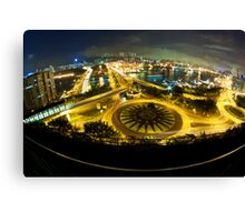 Hong Kong night traffic with modern buildings background Canvas Print