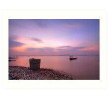 Sunset over the ocean in Hong Kong, HDR image. Art Print