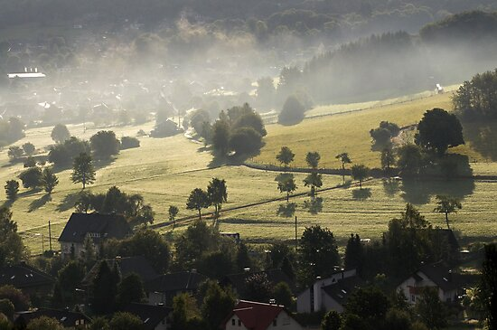 Early morning mist clearing, Siegerland, Germany. by David A. L. Davies