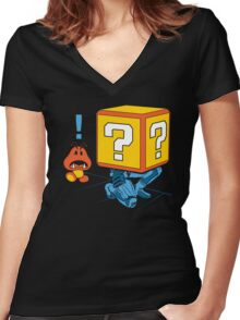 SUPER SNAKE BROS! Women's Fitted V-Neck T-Shirt