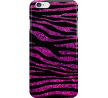 Animal Print, Zebra Stripes, Glitter - Black Pink iPhone Case/Skin