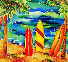 Palms and Surf by beachyart
