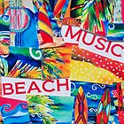Music, Beach, Fun Collage Art by beachyart