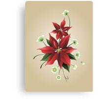 Christmas Poinsettias Canvas Print