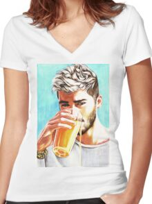 Zayn-Orange Juice Women's Fitted V-Neck T-Shirt