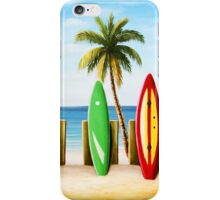Surfboards on the beach iPhone Case/Skin