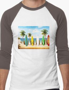 Surfboards on the beach Men's Baseball ¾ T-Shirt