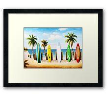 Surfboards on the beach Framed Print