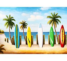 Surfboards on the beach Photographic Print