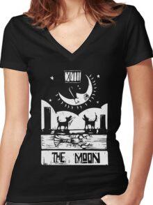 The Moon  - Tarot Cards - Major Arcana Women's Fitted V-Neck T-Shirt