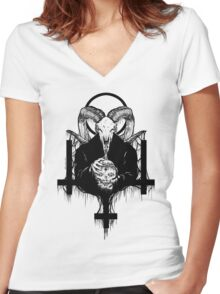Satan Gets Ahead Women's Fitted V-Neck T-Shirt