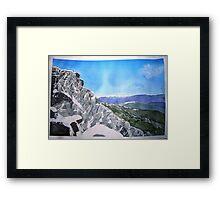 Mt Buffalo in Spring snow Framed Print
