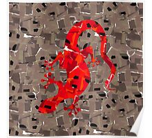 Red Lizard Collage Poster
